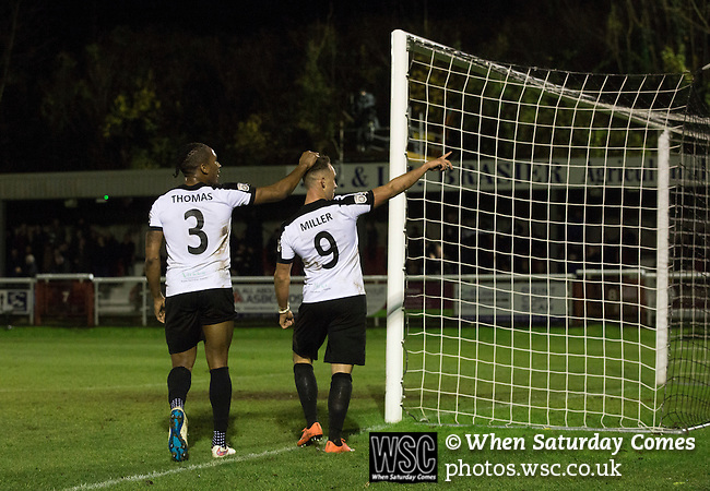 Dover Athletic 2 Cambridge United 4, 17/11/2016. The Crabble, FA Cup first round replay. Home team striker Ricky Miller (number 9) celebrating opening the scoring with fellow goalscorer Aswad Thomas at the Crabble as National League Dover Athletic (in white) hosted League 2 Cambridge United in an FA Cup first round replay. The club was founded in 1983 after the dissolution of the town's previous club Dover FC, whose place in the Southern League was taken by the new club. Cambridge United won the tie by 4-2 after extra time, watched by a crowd of 1158. Photo by Colin McPherson.