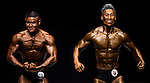 (L) Yip Po Fai and (R) Wong Pan Man flexes muscles for judges on stage during the Hong Kong Bodybuilding Championship on 29 June 2014 at the Queen Elizabeth Stadium Arena in Hong Kong, China. Photo by Aitor Alcalde /  Power Sport Images