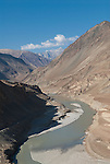 CONFLUENCE OF ZANSKAR AND INDUS RIVER, LADAKH, HIMALAYA, INDIA - SEPTEMBER 29, 2009: The Zanskar river joins the Indus near Nimmu in Ladakh. (Photo by Dirk Markgraf)
