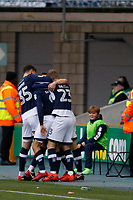 GOAL - Lee Gregory of Millwall is congratulated for his goal during the Sky Bet Championship match between Millwall and Sheff United at The Den, London, England on 2 December 2017. Photo by Carlton Myrie / PRiME Media Images.