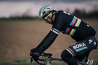 World Champion Peter Sagan (SVK/Bora-Hansgrohe) in a 'black-rainbow' rainjacket<br /> <br /> 109th Milano-Sanremo 2018<br /> Milano &gt; Sanremo (291km)