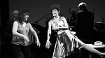 """Debbie Gravitte and Lucie Arnaz during the curtain call bows for """"They're Playing Our Song"""" Concert Benefit for The Actors Fund at the Music Box Theatre on February 11, 2019 in New York City."""