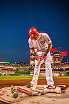 22 May 2015: Washington Nationals shortstop Ian Desmond tends to his bat while on deck against the Philadelphia Phillies at Nationals Park in Washington, DC. The Nationals defeated the Phillies 2-1 in the first game of their 3-game weekend series. Mandatory Credit: Ed Wolfstein Photo *** RAW (NEF) Image File Available ***