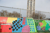 Mural and Bacton Tower on Camden Council's Gospel Oak Estate