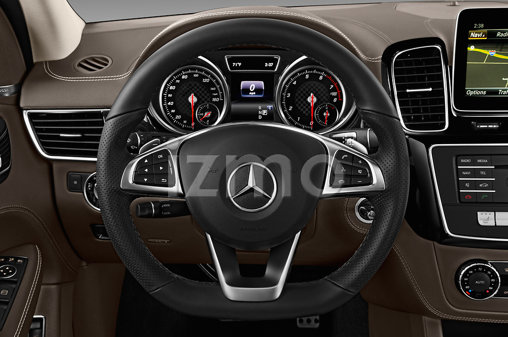 Car pictures of steering wheel view of a 2017 Mercedes Benz GLE-Class AMG-GLE43 5 Door SUV Steering Wheel