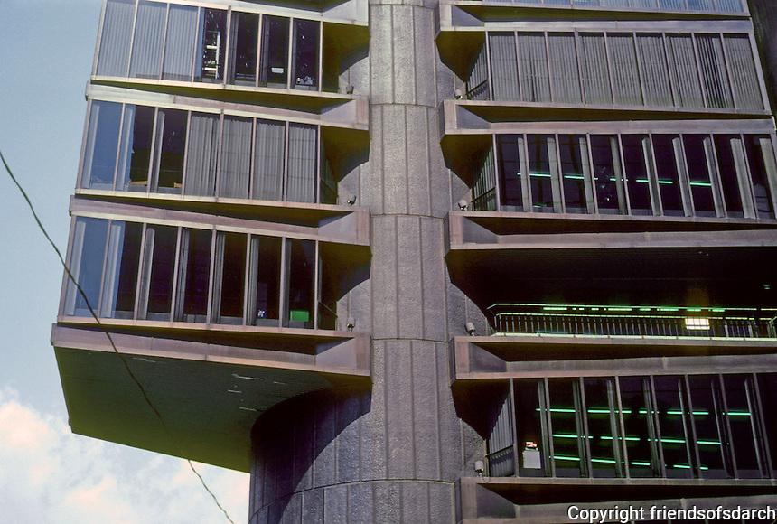 Tokyo: Shizuoka Shimbun Office--detail. Kenzo Tange and Urtec Team. Photo '82.