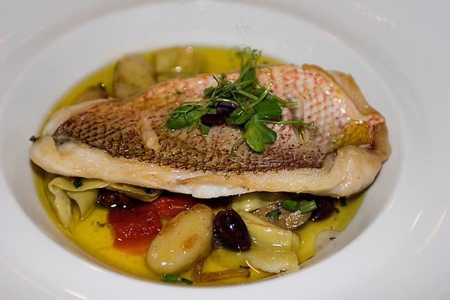 "NYR  Fives Restaurant, Peninsula Hotel, Roasted Cod ""Tagine"", Eggplant, Tomatoes, Preserved Lemon"