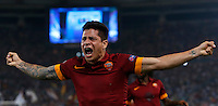 Calcio, Champions League, Gruppo E: Roma vs CSKA Mosca. Roma, stadio Olimpico, 17 settembre 2014.<br /> Roma forward Juan Iturbe, of Argentina, celebrates after scoring during the Group E Champions League football match between AS Roma and CSKA Moskva at Rome's Olympic stadium, 17 September 2014.<br /> UPDATE IMAGES PRESS/Riccardo De Luca