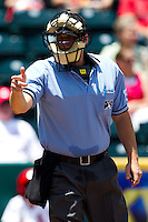 Home Plate Umpire Brandon Misun makes a strike call during a game between the San Antonio Missions and the Springfield Cardinals on May 30, 2011 at Hammons Field in Springfield, Missouri.  Photo By David Welker/Four Seam Images.