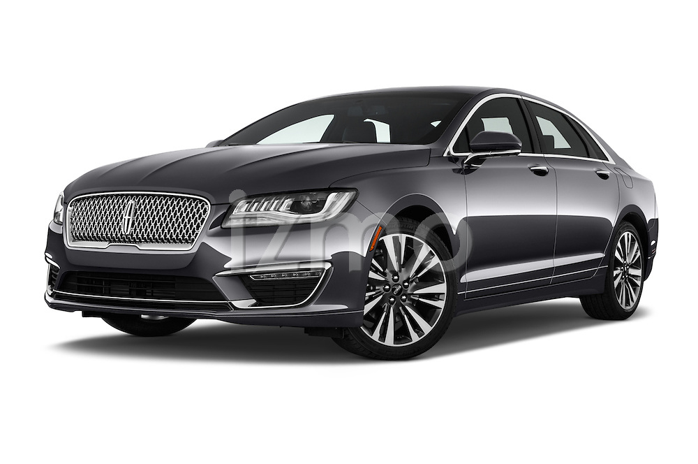 Stock pictures of low aggressive front three quarter view of 2017 Lincoln MKZ Reserve 4 Door Sedan Low Aggressive