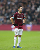 West Ham United's Samir Nasri<br /> <br /> Photographer Rob Newell/CameraSport<br /> <br /> The Premier League - West Ham United v Arsenal - Saturday 12th January 2019 - London Stadium - London<br /> <br /> World Copyright © 2019 CameraSport. All rights reserved. 43 Linden Ave. Countesthorpe. Leicester. England. LE8 5PG - Tel: +44 (0) 116 277 4147 - admin@camerasport.com - www.camerasport.com