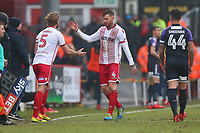 Jack King of Stevenage is replaced by Fraser Franks during Stevenage vs Luton Town, Sky Bet EFL League 2 Football at the Lamex Stadium on 10th February 2018