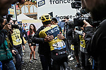 Race leader Yellow Jersey Egan Bernal (COL) Team Ineos hugs his father knowing overall victory is now his at the end of Stage 20 of the 2019 Tour de France running 59.5km from Albertville to Val Thorens, France. 27th July 2019.<br /> Picture: ASO/Pauline Ballet | Cyclefile<br /> All photos usage must carry mandatory copyright credit (© Cyclefile | ASO/Pauline Ballet)