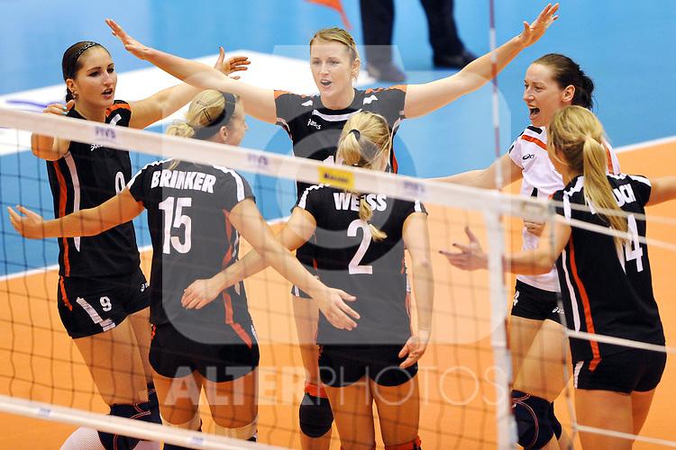 02.11.2010, Matsumoto City Gymnasium, Matsumoto, JPN, Volleyball Weltmeisterschaft Frauen 2010,  Deutschland ( GER ) vs. Kroatien ( CRO ), im Bild Jubel Deutschland. Foto © nph / Kurth