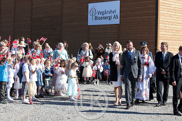 Crown Prince Haakon and Crown Princess Mette-Marit of Norway visit  Vegarshei during a three day visit, to the county of Aust-Agder in Southern Norway..