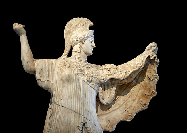 Roman statue of goddes Athena from the tablinum of the Villa of the Papyri in Herculaneum, Museum of Archaeology, Italy, black background