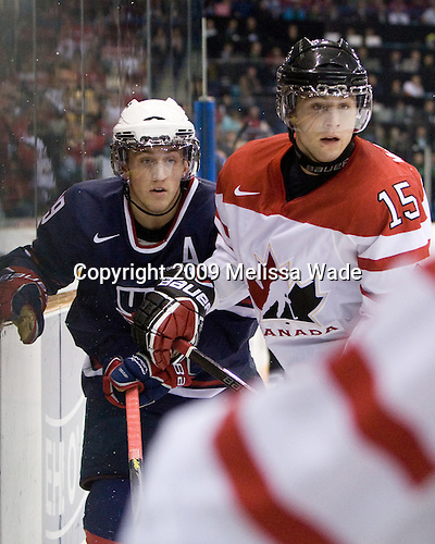 Jordan Schroeder (USA - 19), Brandon McMillan (Canada - 15) - Team Canada defeated Team USA 5-4 (SO) on Thursday, December 31, 2009, at the Credit Union Centre in Saskatoon, Saskatchewan, during the 2010 World Juniors tournament.