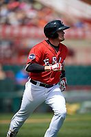 Erie SeaWolves third baseman Kody Eaves (22) runs to first base during a game against the Reading Fightin Phils on May 18, 2017 at UPMC Park in Erie, Pennsylvania.  Reading defeated Erie 8-3.  (Mike Janes/Four Seam Images)