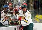 9 January 2011: University of Vermont Catamount defenseman Kevan Miller, a Senior from Los Angeles, CA, in action along the boards during a game against the Boston University Terriers at Gutterson Fieldhouse in Burlington, Vermont. The Catamounts fell to the Terriers 4-2 in Hockey East play. Mandatory Credit: Ed Wolfstein Photo