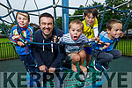The Gilligan Family from Ardfert enjoying their afternoon in the Ardfert playground on Tuesday. L to r: Páidí, Tadgh, Colm, Eoghan and Shea