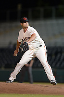Scottsdale Scorpions pitcher Cody Hall (50), of the San Francisco Giants organization, during an Arizona Fall League game against the Salt River Rafters on October 9, 2013 at Scottsdale Stadium in Scottsdale, Arizona.  Salt River defeated Scottsdale 12-2.  (Mike Janes/Four Seam Images)