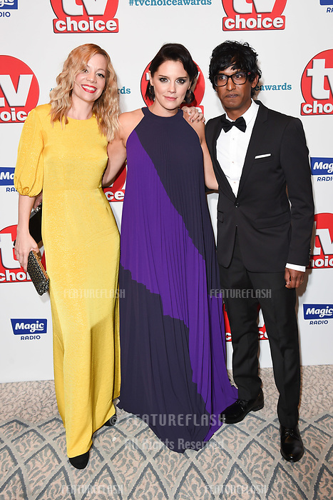 LONDON, UK. September 10, 2018: Fiona Button, Annabel Scholey &amp; Rudi Darmalingham at the TV Choice Awards 2018 at the Dorchester Hotel, London.<br /> Picture: Steve Vas/Featureflash
