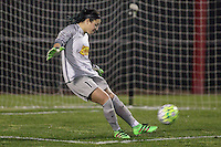 Piscataway, NJ, Saturday May 7, 2016. Western New York Flash goalkeeper Sabrina D'Angelo (1) takes a goal kick. The Western New York Flash defeated Sky Blue FC, 2-1, in a National Women's Soccer League (NWSL) match at Yurcak Field.