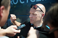 team architect Sir David Brailsford (GBR) answering the press before the stage<br /> <br /> stage 10: Saint-Gildas-des-Bois to Saint-Malo<br /> 197km