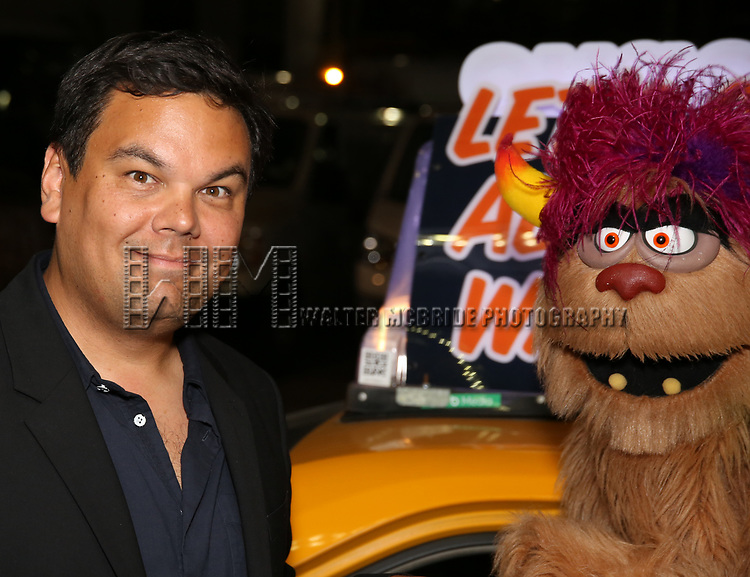 Robert Lopez and Trekkie Monster taking the 'Avenue Q' - 15th Anniversary Performance Taxi Cab at New World Stages on July 31, 2018 in New York City.