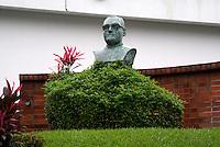Bust of Archbishop Oscar Romero next to the Centro Bust of Archbishop Oscar Romero at the Centro Monsegnor Romero at the Universidad Centroamericana or UCA in San Salvador, El Salvador
