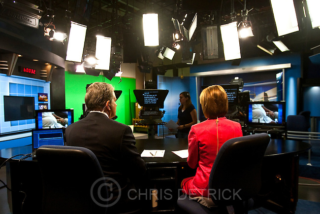 Photo by Chris Detrick  |  The Salt Lake Tribune .Bruce Lindsay and Nadine Wimmer during the KSL 5 Television's Eyewitness News 6:00pm newscast at the KSL Studio Tuesday August 24, 2010.