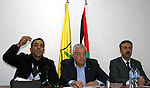 Adnan al-Ghaith, a member of the Committee for the Defense of Silwan (L), Mahmoud Aloul, Central Committee member of the Fatah movement (C), and Ahmed al-Assaf, the spokesman of the Fatah movement (R) attend a press conference in the West Bank city of Ramallah on January 16, 2011. Photo by Issam Rimawi
