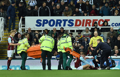 01.01.2015.  Newcastle, England. Barclays Premier League. Newcastle versus Burnley.  Medical staff come onto the pitch to assist Kevin Long of Burnley