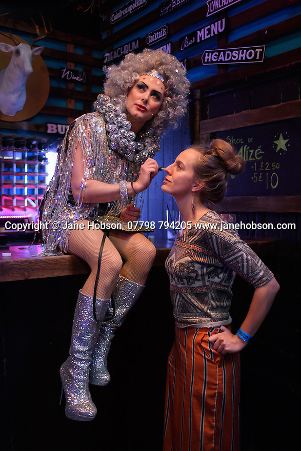 London, UK. 10.06.2016. the Donkey Show opens at Proud Camden. Picture shows: James Gillan (Lady Puck), Lucy Ridley (Choreographer). Photograph © Jane Hobson.
