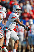January 02, 2012:     Ohio State Buckeyes quarterback Braxton Miller (5) hands off during first half action at the 2012 Taxslayer.com Gator Bowl between the Florida Gators and the Ohio State Buckeyes at EverBank Field in Jacksonville, Florida.
