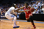 23 March 2015: Ohio State's Kelsey Mitchell (3) and North Carolina's Danielle Butts (left). The University of North Carolina Tar Heels hosted the Ohio State University Buckeyes at Carmichael Arena in Chapel Hill, North Carolina in a 2014-15 NCAA Division I Women's Basketball Tournament second round game. UNC won the game 86-84.
