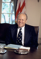 Gerald Ford at desk in Oval Office - - A break in at the Democratic National Committee headquarters at the Watergate complex on June 17, 1972 results in one of the biggest political scandals the US government has ever seen.  Effects of the scandal ultimately led to the resignation of  President Richard Nixon, on August 9, 1974, the first and only resignation of any U.S. President.