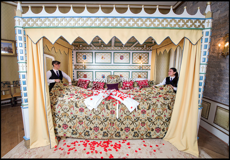 BNPS.co.uk (01202 558833)<br /> Pic: PhilYeomans/BNPS<br /> <br /> Fancy a romantic Valentines stay in Britains largest hotel bed?<br /> <br /> This massive four-poster at historic Thornbury Castle near Bristol is ten feet wide and takes four people to make, it's special bedding involves two king-size sheets and duvets stitched together, and eight pillows. <br /> <br /> The castle has had a turbulent history, built in 1511 as the country seat of Edward Stafford, 3rd Duke of Buckingham. But only 10 years later Henry VIII confiscated it after beheading the unfortunate Duke for alleged treason in 1521, and even whisked Anne Boleyn there in 1535 as part of their Honeymoon Tour.<br /> <br /> To stay in the romantic Tower Suite it will cost you £650 for a two night Valentine special deal, that includes a five course meal for two, champagne on arrival and champagne truffles.