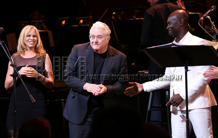 Vonda Shepard, Randy Newman and Isaiah Johnson during the Curtain Call for the New York City Center Encores! Off-Center production of 'Randy Newman's FAUST' - The Concert at City Center on July 1, 2014 in New York City.