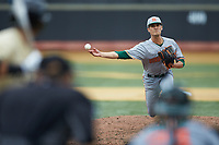 Miami Hurricanes relief pitcher Mark Mixon (19) in action against the Wake Forest Demon Deacons at David F. Couch Ballpark on May 11, 2019 in  Winston-Salem, North Carolina. The Hurricanes defeated the Demon Deacons 8-4. (Brian Westerholt/Four Seam Images)