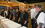 Chef Clint Jolly introduces the chefs during the Reno Bites Chef Showdown at Czyz's Appliance's gourmet kitchens in Reno, October 14, 2017.