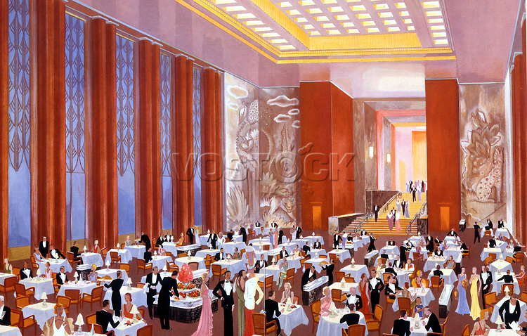 La grande salle a manger du paquebot transatlantique L'Atlantique, Illustration par Hemjie vers 1931, collection BiblothequeArtsDecoratifs  ---  the dining room of transatlantic liner L'Atlantique, Illustration by Hemjie c.1931