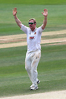 Simon Harmer of Essex claims the wicket of Rikki Clarke during Essex CCC vs Warwickshire CCC, Specsavers County Championship Division 1 Cricket at The Cloudfm County Ground on 22nd June 2017