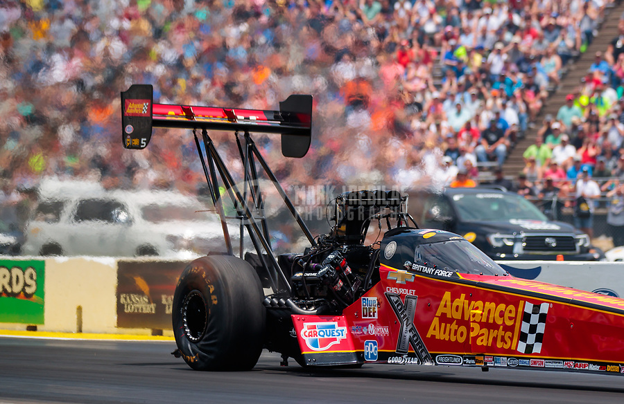 Jun 9, 2019; Topeka, KS, USA; NHRA top fuel driver Brittany Force during the Heartland Nationals at Heartland Motorsports Park. Mandatory Credit: Mark J. Rebilas-USA TODAY Sports