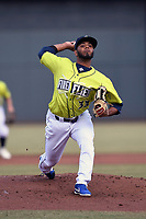 Starting pitcher Jaison Vilera (33) of the Columbia Fireflies delivers a pitch in a game against the Charleston RiverDogs on Saturday, April 6, 2019, at Segra Park in Columbia, South Carolina. Columbia won, 3-2. (Tom Priddy/Four Seam Images)