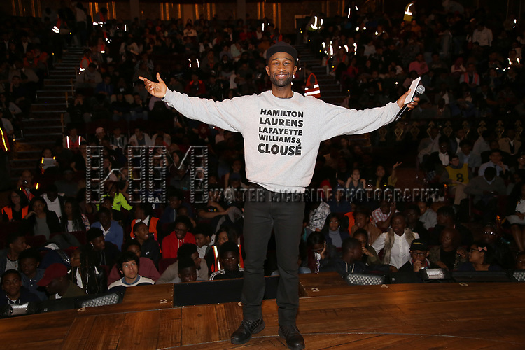 "Donald Webber Jr. before The Rockefeller Foundation and The Gilder Lehrman Institute of American History sponsored High School student #EduHam matinee performance of ""Hamilton"" at the Richard Rodgers Theatre on May 24, 2017 in New York City."