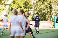 Seattle, WA - Sunday, April 17, 2016: Sky Blue FC head coach Christy Holly watches his team during warm-ups at Memorial Stadium. Sky Blue FC defeated the Seattle Reign FC 2-1during a National Women's Soccer League (NWSL) match at Memorial Stadium.