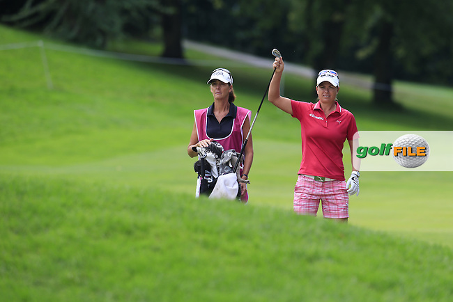 Lee-Anne Pace (RSA) prepares to play her 2nd shot on the 13th hole during Sunday's Final Round of the LPGA 2015 Evian Championship, held at the Evian Resort Golf Club, Evian les Bains, France. 13th September 2015.<br /> Picture Eoin Clarke | Golffile