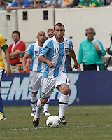 Argentina midfielder Javier Mascherano (14) at midfield. In an international friendly (Clash of Titans), Argentina defeated Brazil, 4-3, at MetLife Stadium on June 9, 2012.