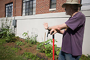 Longtime University Apartments resident Bruce Westbrook maintains a portion of the community garden in the courtyard of the Durham apartment complex that was recently purchased by Capstone, a cooperate development company based in Birmingham, Alabama.